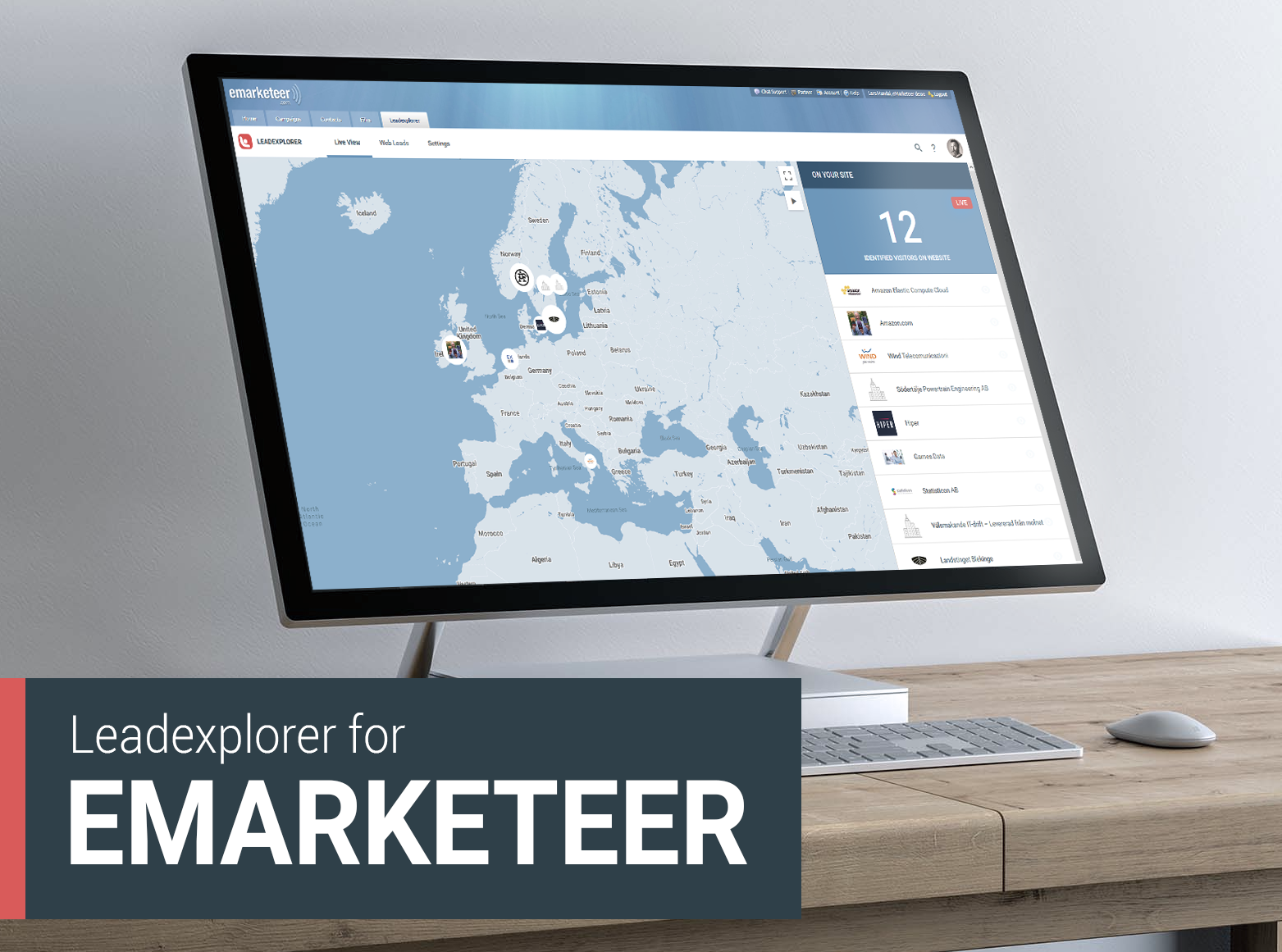 A screen of eMarketeer with a view of Leadexplorer Live View.